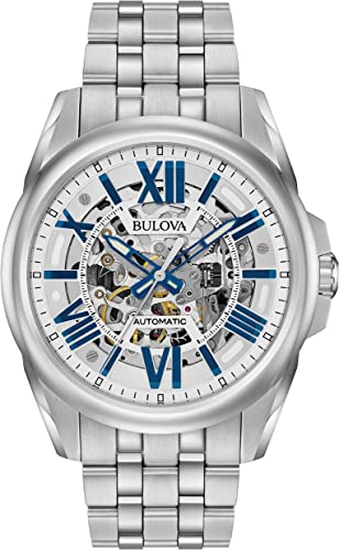 Amazon.com: Bulova Men's Mechanical-Hand-Wind Watch with Stainless-Steel  Strap, Silver, 22 (Model: 96A187): Watches