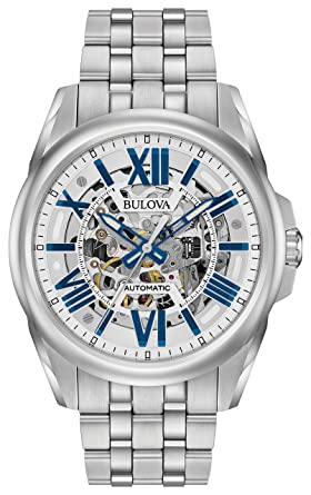 a04634c57 Bulova Men's Mechanical-Hand-Wind Watch with Stainless-Steel Strap, Silver,