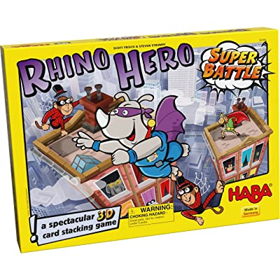 HABA Rhino Hero Super Battle - A Turbulent 3D Stacking Game Fun for All Ages (Made in Germany): Toys & Games