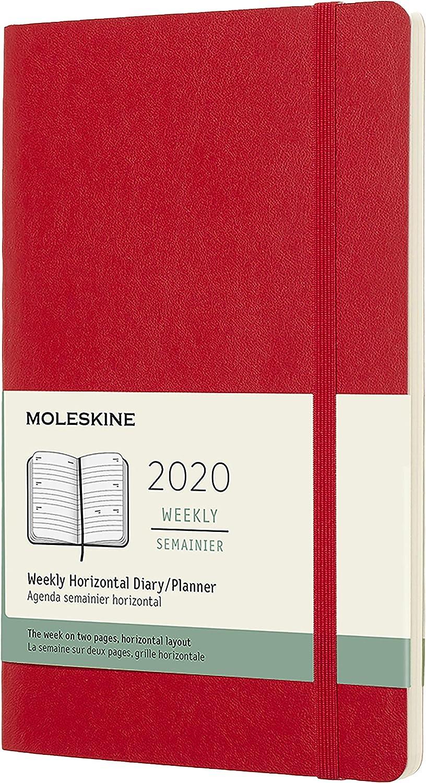 Moleskine - Agenda Semanal Horizontal de 12 Meses 2020, Tapa Blanda y Goma Elástica, Tamaño Grande 13 x 21 cm, 144 Páginas, Rojo Escarlata (AGENDA 12 MOIS)