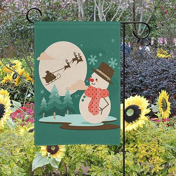 Bennigiry - Bandera Decorativa de Doble Cara para jardín, diseño de muñeco de Nieve y Luna caribeña, 30, 5 x 45, 7 cm, 12x18(in): Amazon.es: Jardín