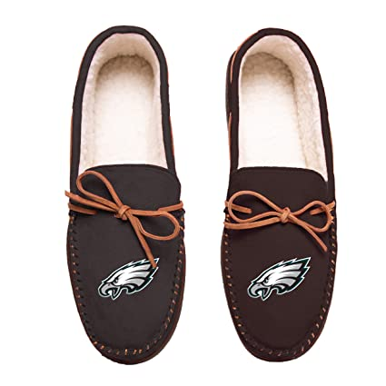 cb98df6147a FOCO NFL Philadelphia Eagles Mens Team Color Big Logo Moccasin SlippersTeam  Color Big Logo Moccasin Slippers
