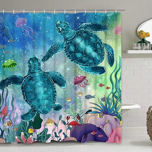 Ocean Shower Curtain Sea Turtles Underwater Print for Bathroom