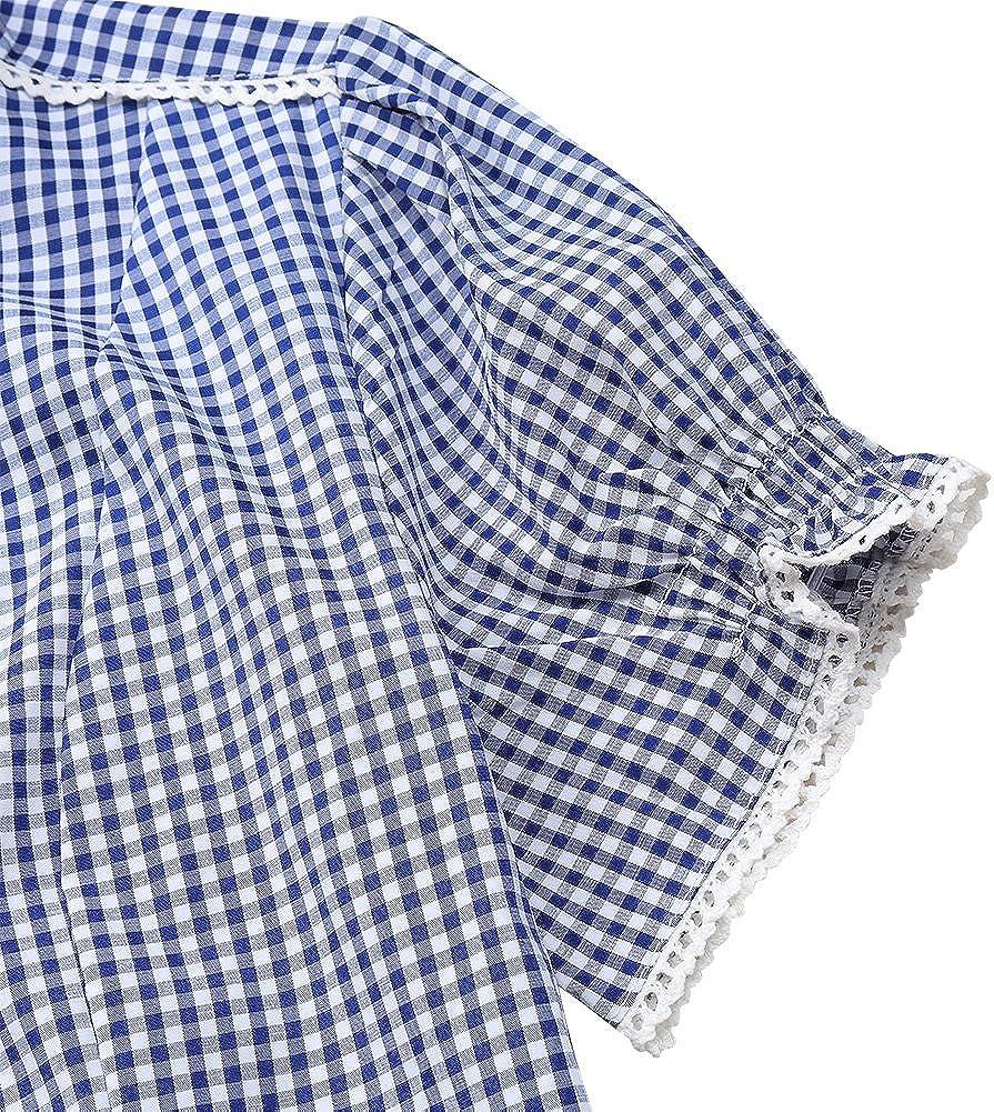 ETbotu Womens Oktoberfest German Plaid Short Sleeve Turn Down Collar Stylish Retro Shirt Blue L