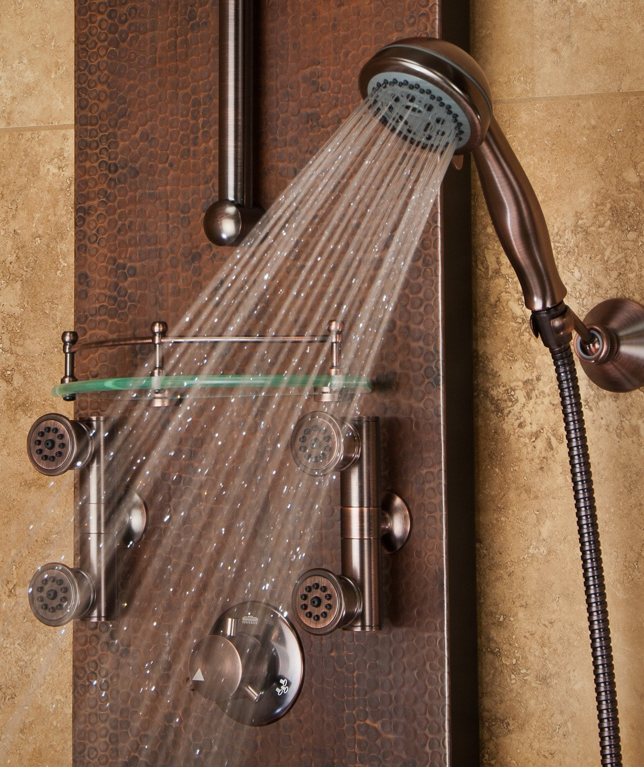 PULSE Showerspas 1016 Mojave Pre Plumbed Hand Hammered Copper Shower System,  Copper With Oil Rubbed Bronze Finish   Shower Towers   Amazon.com