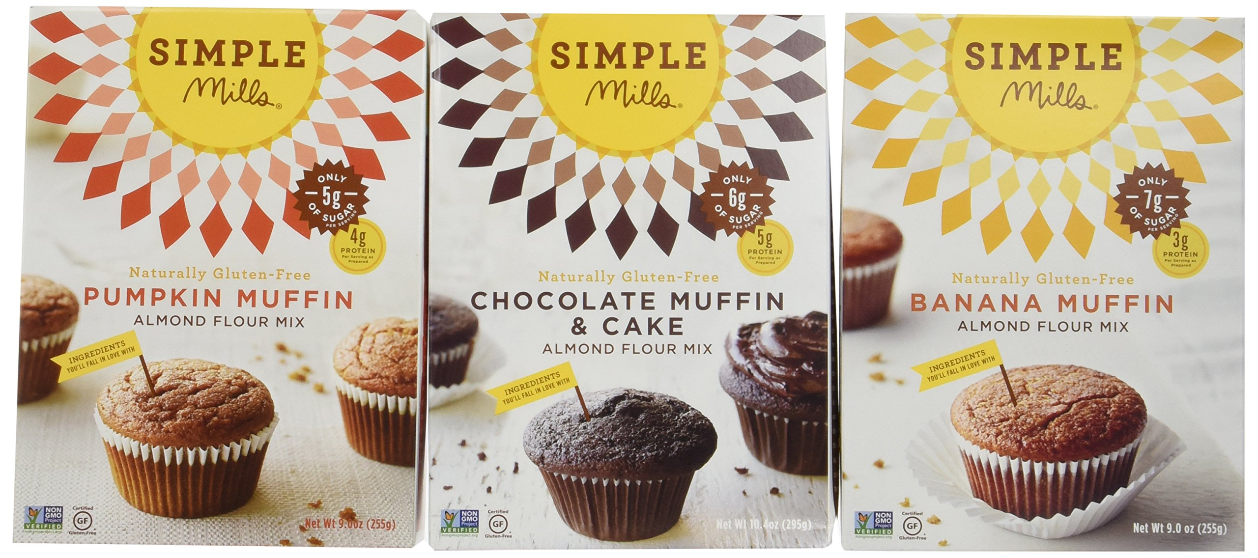 Simple Mills Naturally Gluten-Free Almond Flour Muffin Mixes, Pumpkin Muffin, Chocolate Muffin & Cake and Banana Muffin, 4 oz, 3 Count