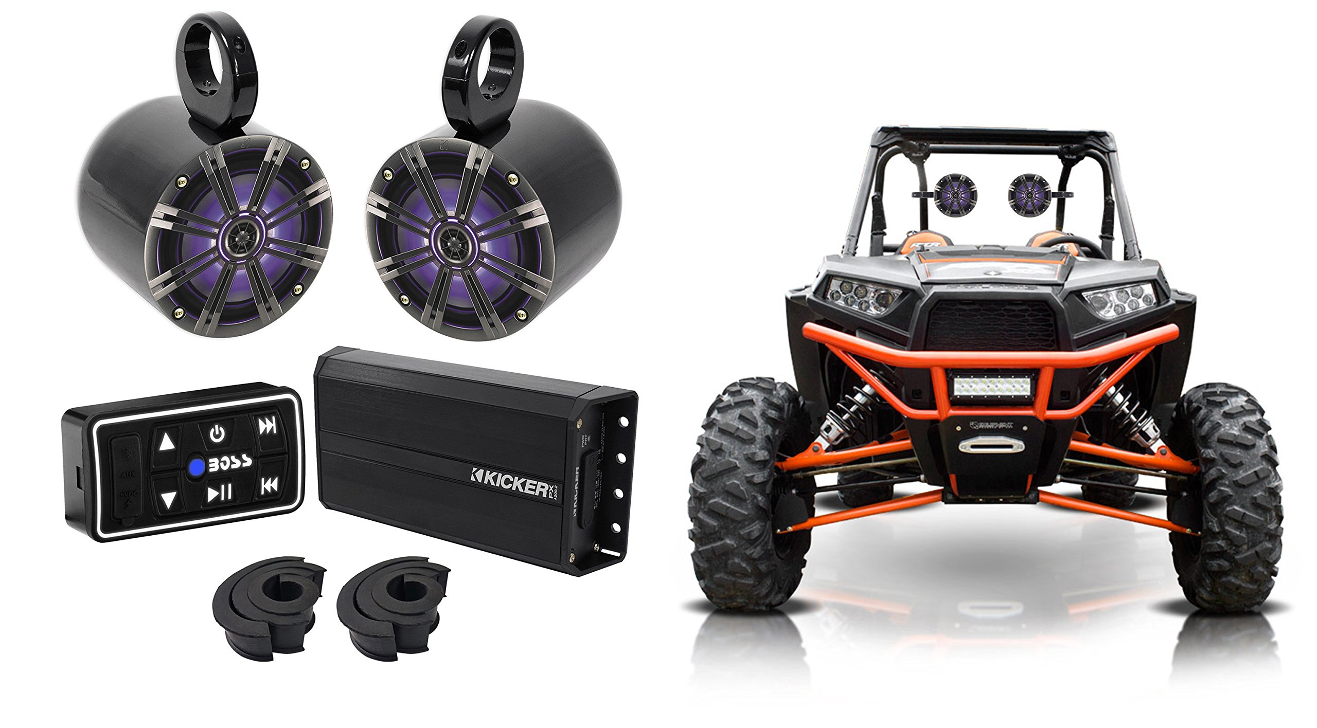 2 Kicker 6.5'' LED Tower Speakers+Kicker Amp+Bluetooth Contol Polaris RZR/ATV/UTV