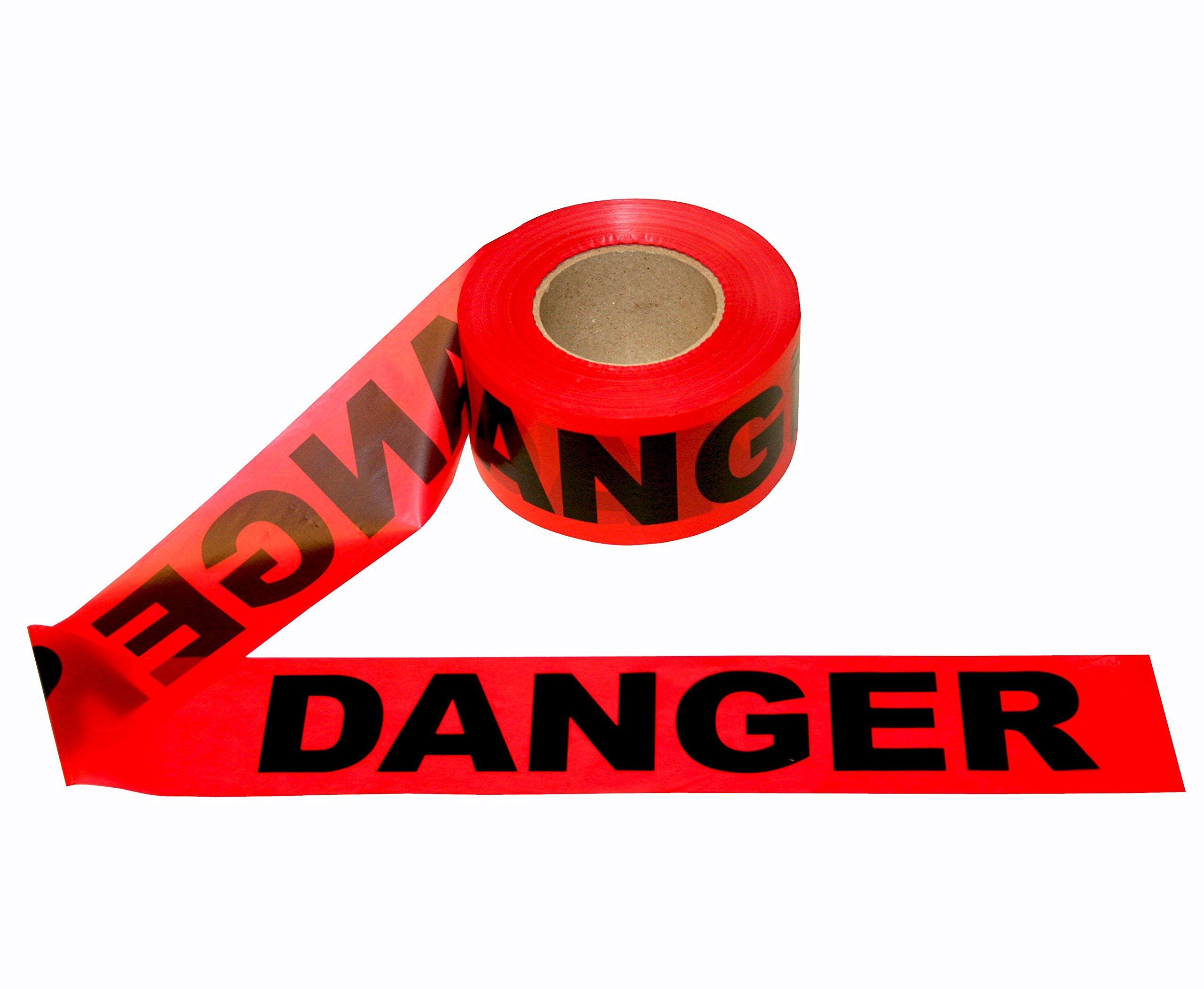 C&W Red Danger Barricade Ribbon Tape - 3'' X 1000 ft • Bright Red with a Bold Black Print for High Visibility • 3'' wide for Maximum Readability • Tear Resist Design • Danger Tape. by C&W (Image #2)