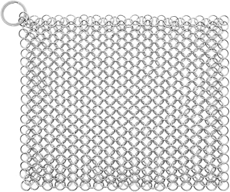 Stainless Steel Chainmail Scrubber for Cast Iron Pots Pans and More 15*15cm