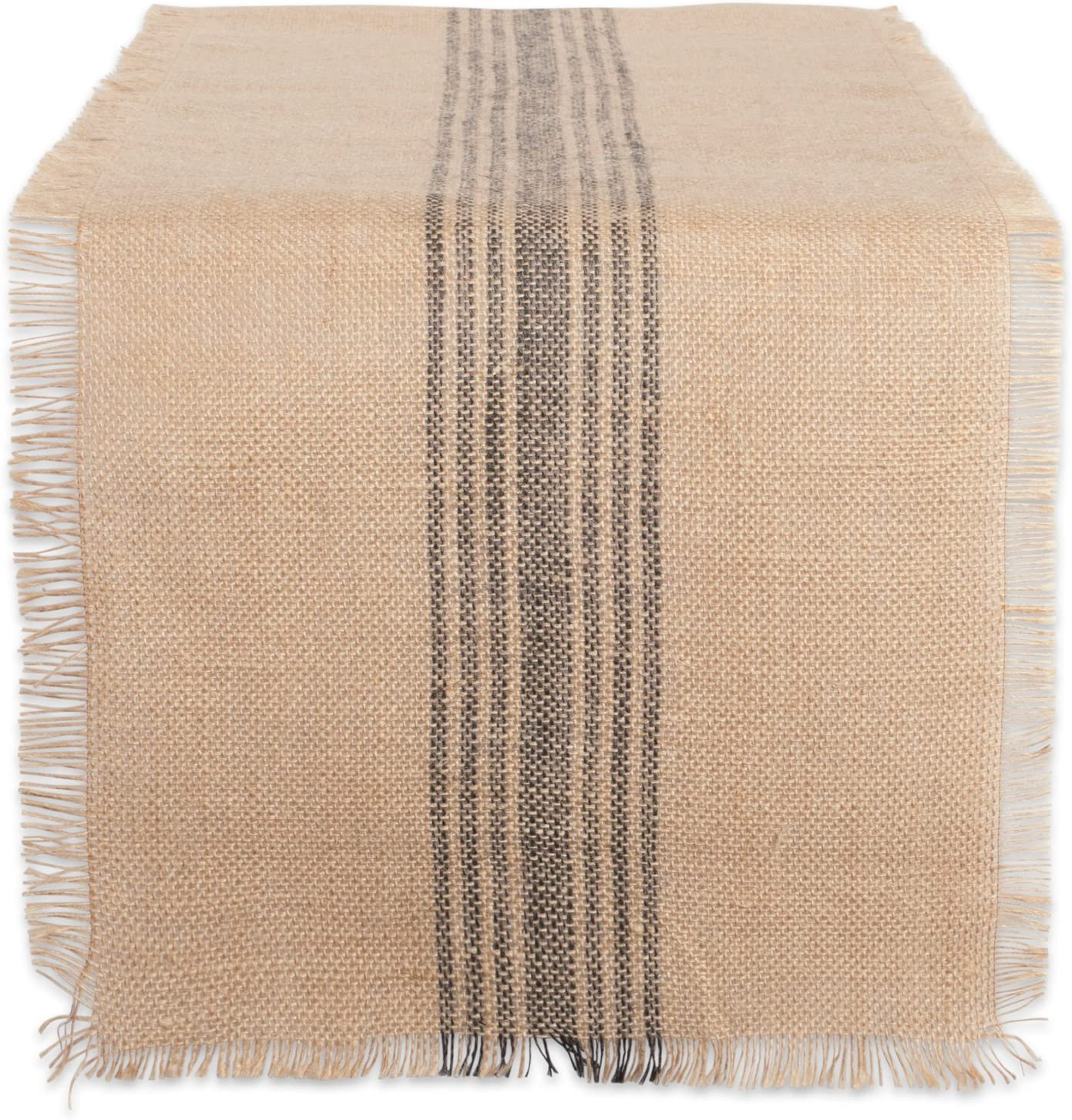 DII CAMZ38416 Mineral Middle Burlap Table Runner, 14 x 108, Center Stripe Gray