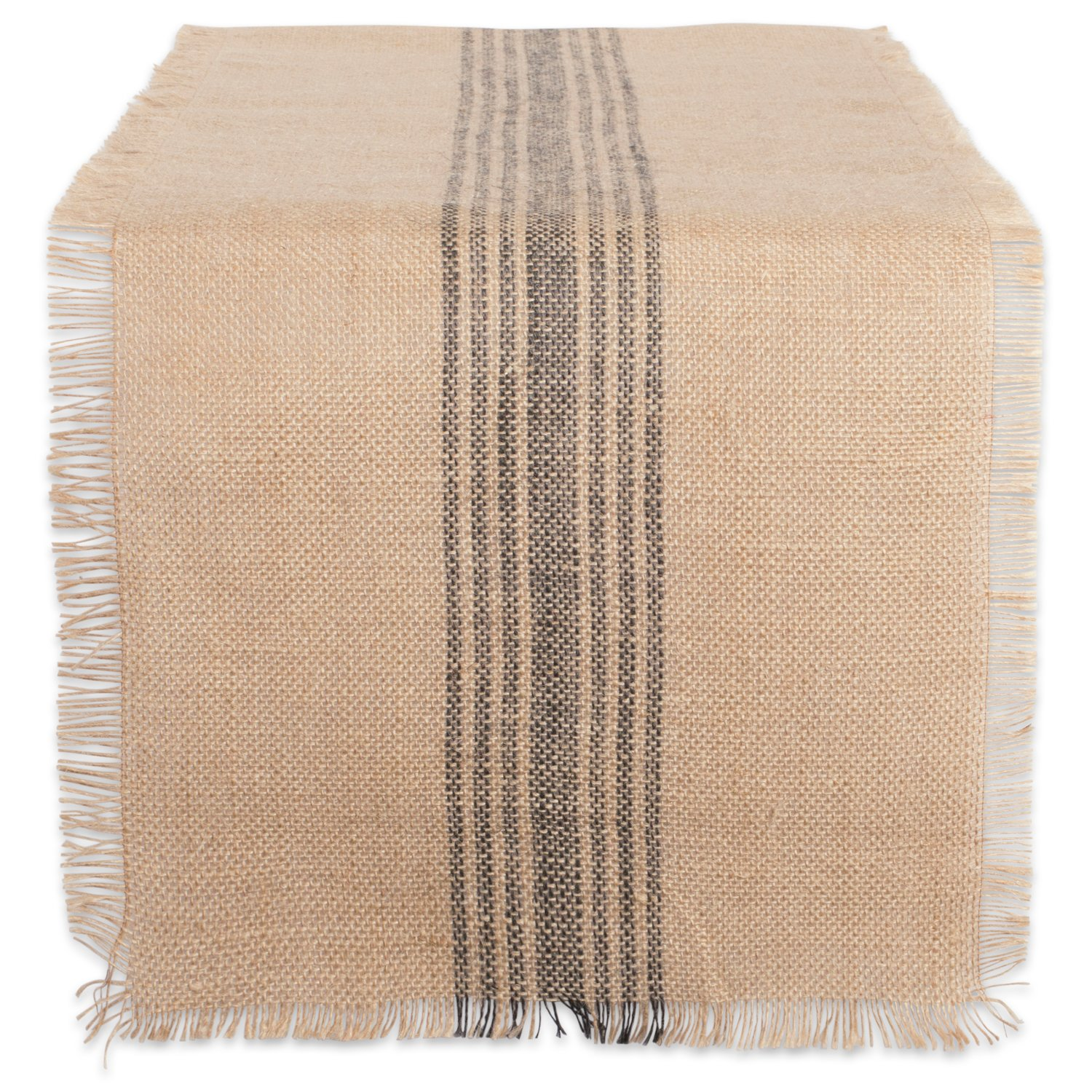 DII 14x72 Jute/Burlap Table Runner, Stripe Mineral Grey - Perfect for Fall, Thanksgiving, Catering Events, Farmhouse Décor, Dinner Parties, Weddings or Everyday Use