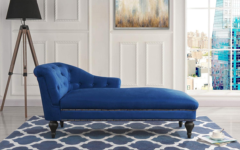 Casa Andrea Milano Elegant Velvet Chaise Lounge for Living Room or Bedroom (Navy)