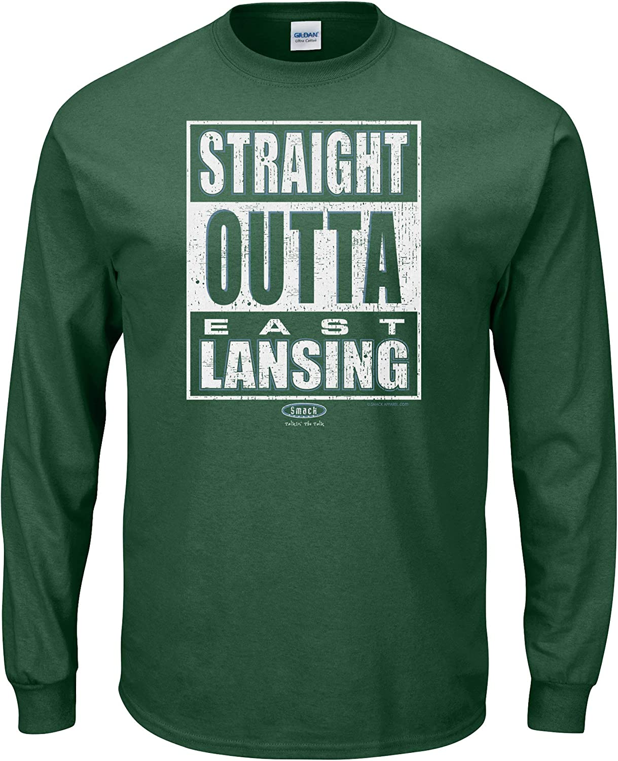 Straight Outta East Lansing Forest Green T-Shirt Sm-5X Smack Apparel Michigan State Football Fans