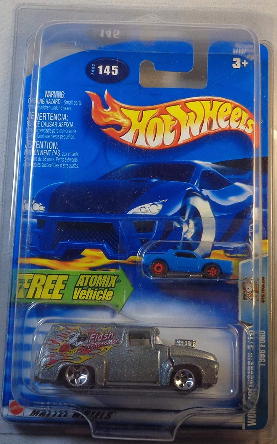 Hot Wheels 2003 Work Crewsers 1956 Ford SILVER Atomix 2/10 # 145 1:64 Scale