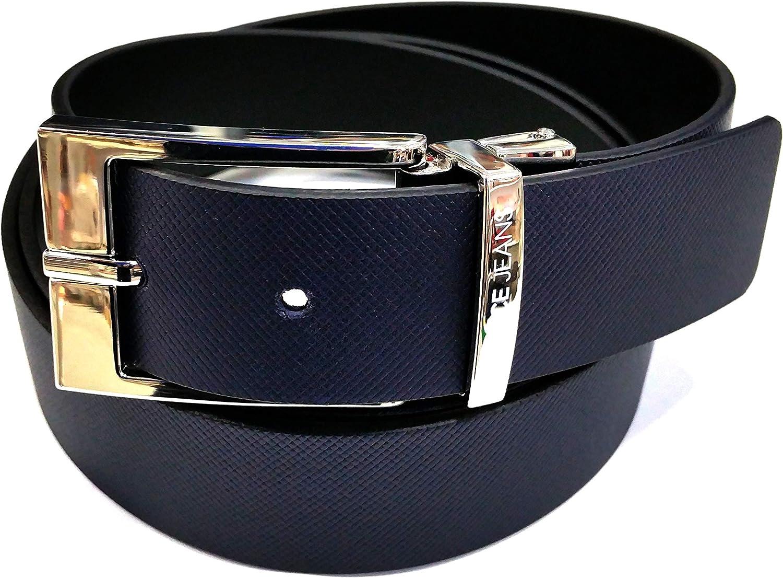 Versace - Cinturón de hombre reversible, color azul/negro, con estampado de microfibra/cinta lisa - Medidas 110 Art. D8YTBF04