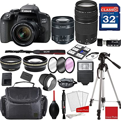 Canon EOS 800D Rebel T7i Kit with EF-S 18-55mm f/4-5 6 is STM Lens and EF  75-300mm f/4-5 6 III Lenses + Professional Accessory Bundle