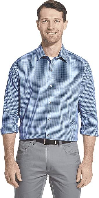 Van Heusen Traveler Stretch Long Sleeve Button Down Black/Khaki/Grey Shirt Camisa con Cuello Abotonado para Hombre