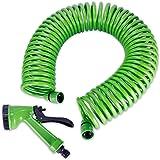 Spiralgartenschlauch Gartenschlauch Wasserschlauch Schlauchspirale ca. 15 m lang mit Sprühpistole zum Bewässern Ihres Gartens
