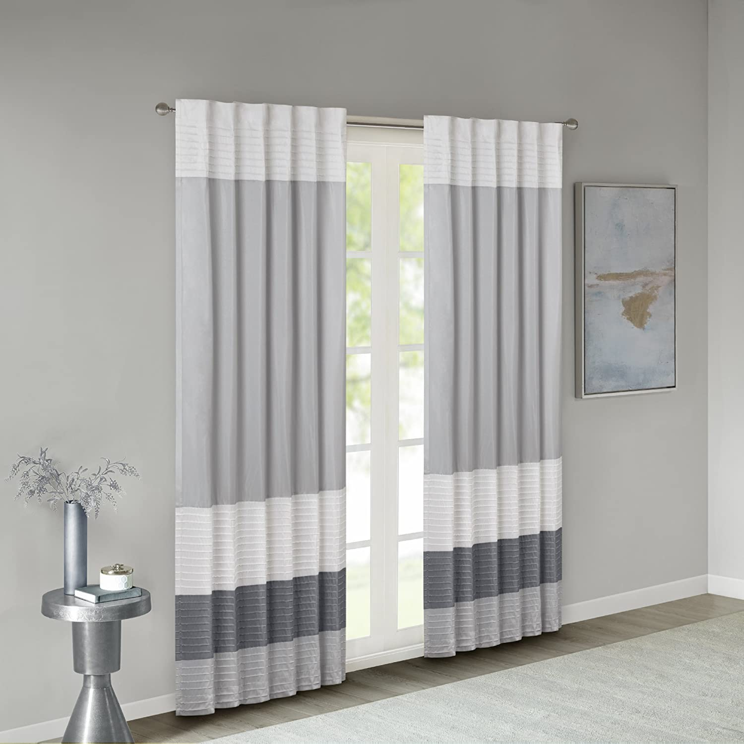 Madison Park Black Curtains for Living Room, Transitional Rod Pocket Light Curtains for Bedroom, Amherst Pieced Back Tab Modern Window Curtains, 50X84, 1-Panel Pack JLA Home MP40-2220
