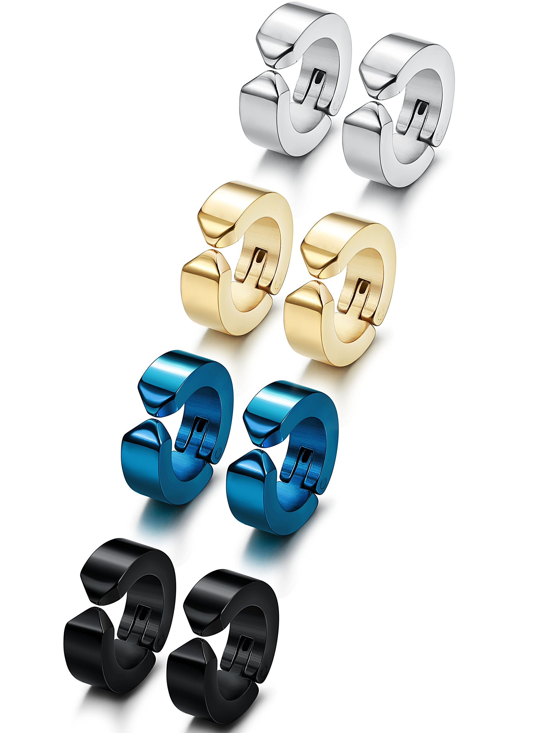 Jstyle Stainless Steel Mens Womens Clip On Earrings Hoop Huggie Non-Piercing 4 Pairs a Set