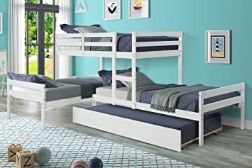 Amazon Com Hanway L Shaped Bunk Bed With Trundle Solid Pine Wood Material Easy To Assemble Plan Providing Unique Bedroom Setting For Small Living Spaces Trendy Design Combined With A White