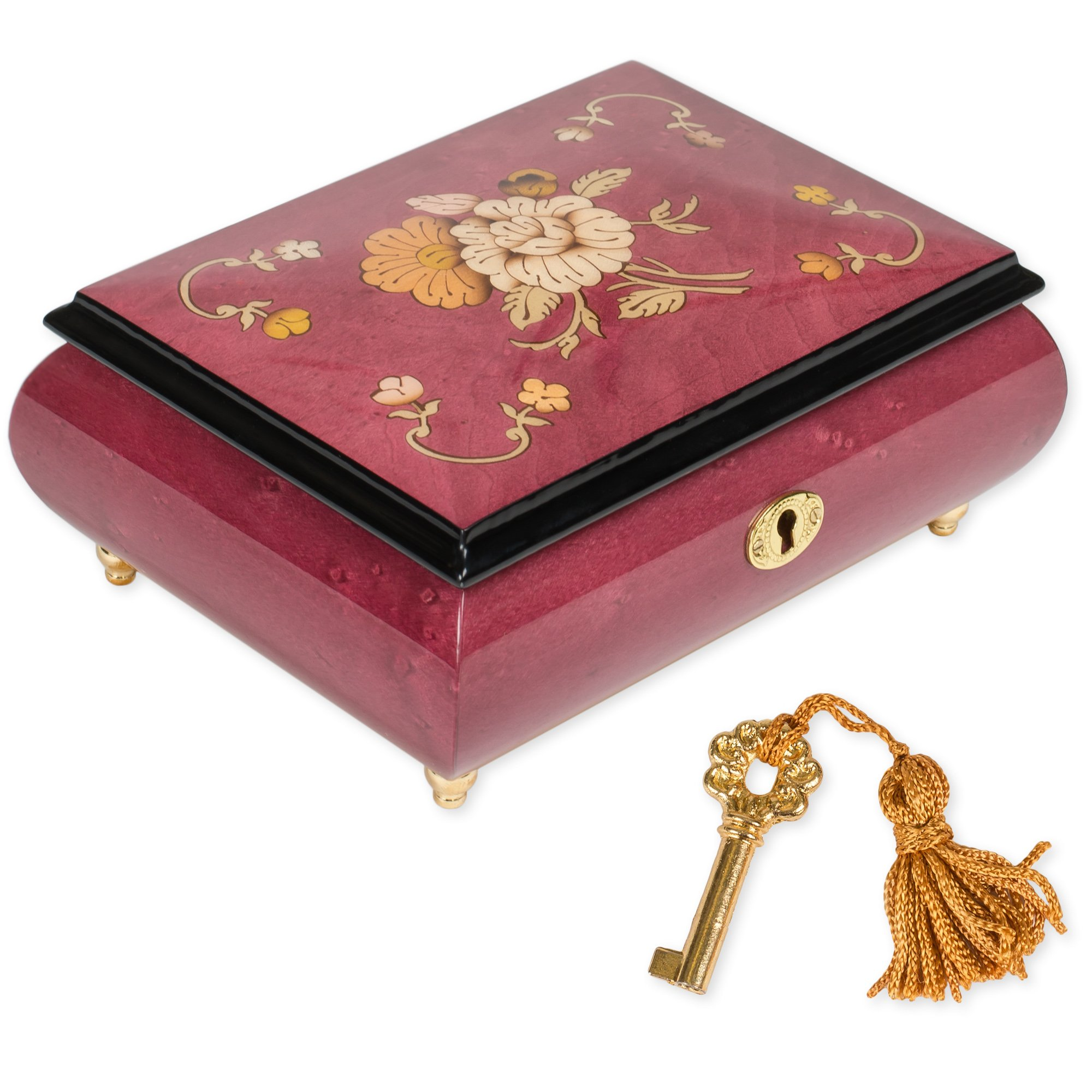 Red Italian Hand Crafted Inlaid Wood Jewelry Music Box Plays Musical Tune Beethoven's Symphony