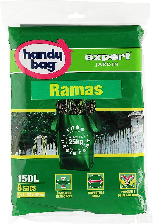 Handy Bag Bolsas Basura 150L Jardín y Ramas, Extra Resistentes, Asas Laterales, 8 Sacos