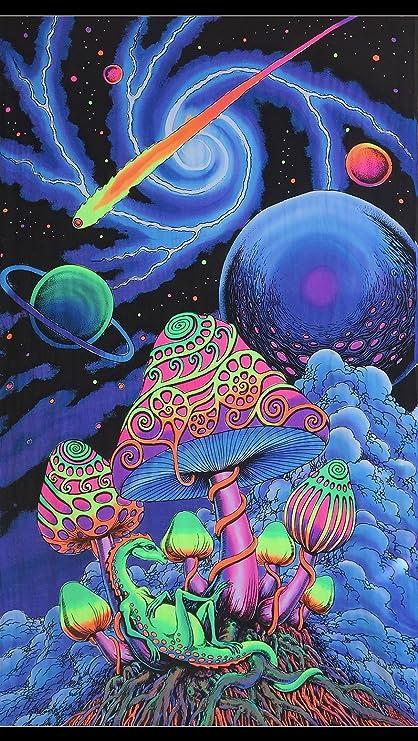 Space Tribe Psicodlico Tapiz  Cosmic Shroom  UV Activa Wall-Hanging   Mano Batik y decoracin diseo de Amazones Hogar