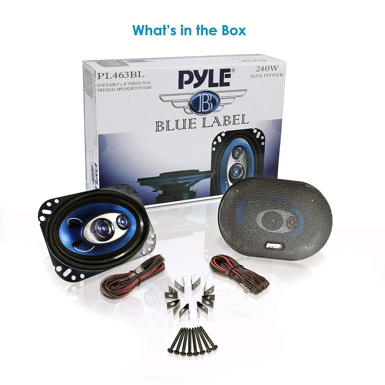 Pyle PL463BL azul 3-way Sistema de altavoces 240 vatios 10.16 cm x 15.24 cm