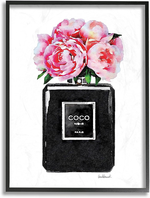 Stupell Industries Glam Perfume Bottle Flower Black Peony Pink Framed Wall Art, 11 x 14