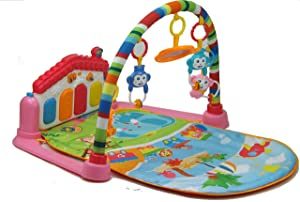 Life-Tandy Baby Kick and Gym Play Mat Lay & Play 3 in 1 Fitness Music and Lights Fun Piano Girl Boy (Pink)