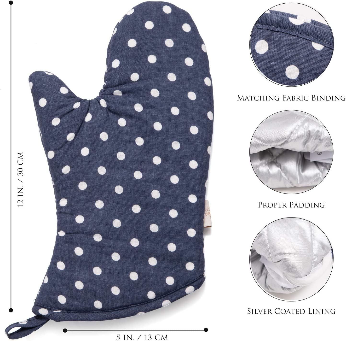 NEOVIVA Cute Oven Mitts for Easy Bake Oven Blue Navy Oven Gloves for Large Hands Polka Dots Crown Blue