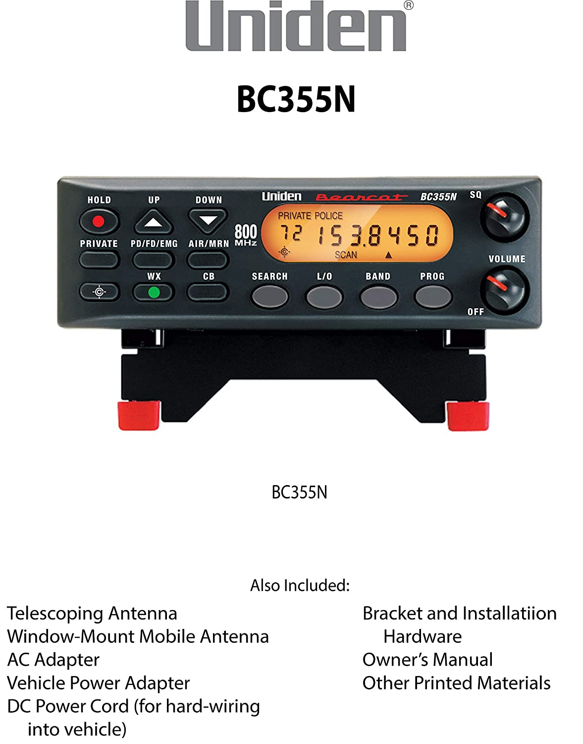 "Uniden BC355N 800 MHz 300-Channel Base/Mobile Scanner  Close Call RF  Capture Technology  Pre-programmed Service Search  ""Action"" Bands to Hear  Police,"