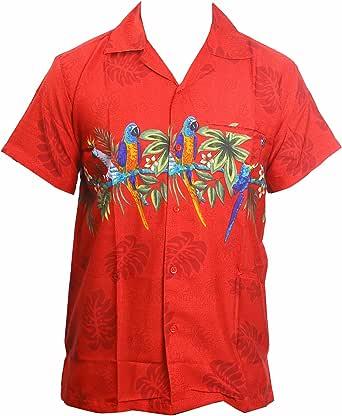 SAITARK Camisa Hawaiana para Hombre, diseño de Loros en el Centro, para la Playa, Fiestas, Verano y Vacaciones - XL - Rosso: Amazon.es: Ropa y accesorios