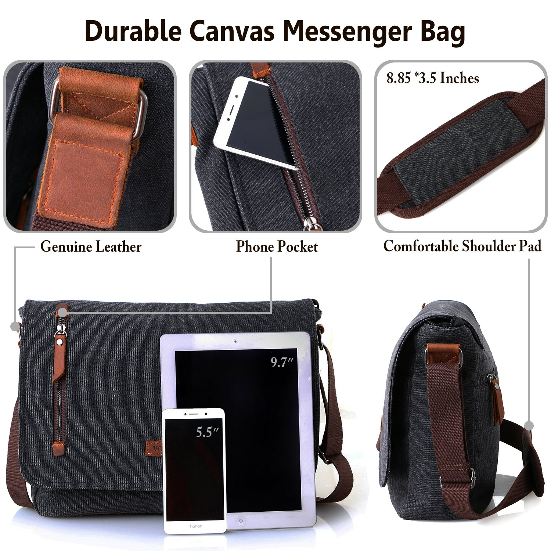 47982aaa1eb1 Vonxury Laptop Messenger Bag, Mens Canvas Shoulder School Crossbody Bag
