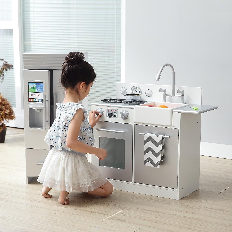 Amazon.com: Teamson Kids Chelsea Play Kitchen, Silver / White, Small ...