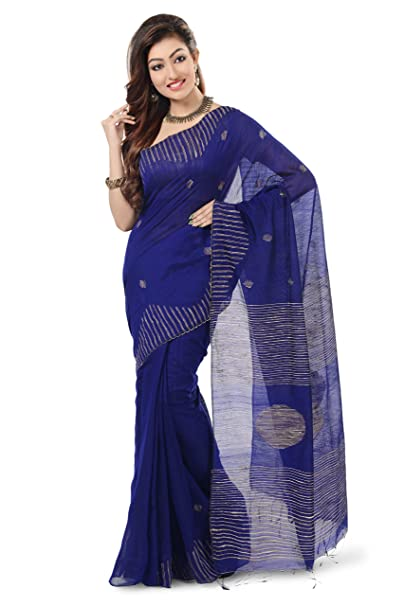 4d2ff32b6c7787 Image Unavailable. Image not available for. Colour  WoodenTant Royal Blue  Ball Ghicha Handloom Cotton Silk Saree ...