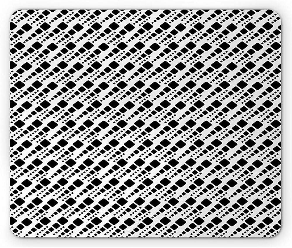 Abstract Mouse Pad, Geometría Moderna y repetida de Cuadrados Grandes y pequeñosPatrón de Formas Triciclo, Mousepad de Goma Antideslizante Rectangular