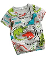 2Bunnies Boys Graffiti Dinosaurs All Over Print Vintage Cars Cotton T shirt