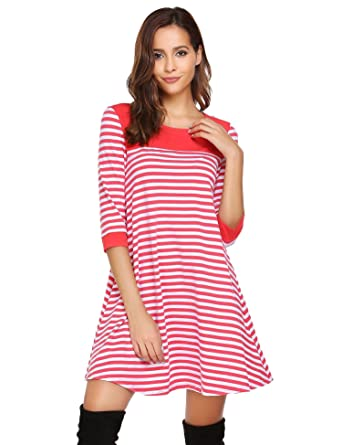 d77f2d1ff0ee ELESOL Women s Pullover Striped Dress Long Sleeve Patchwork Casual Dress  Red S