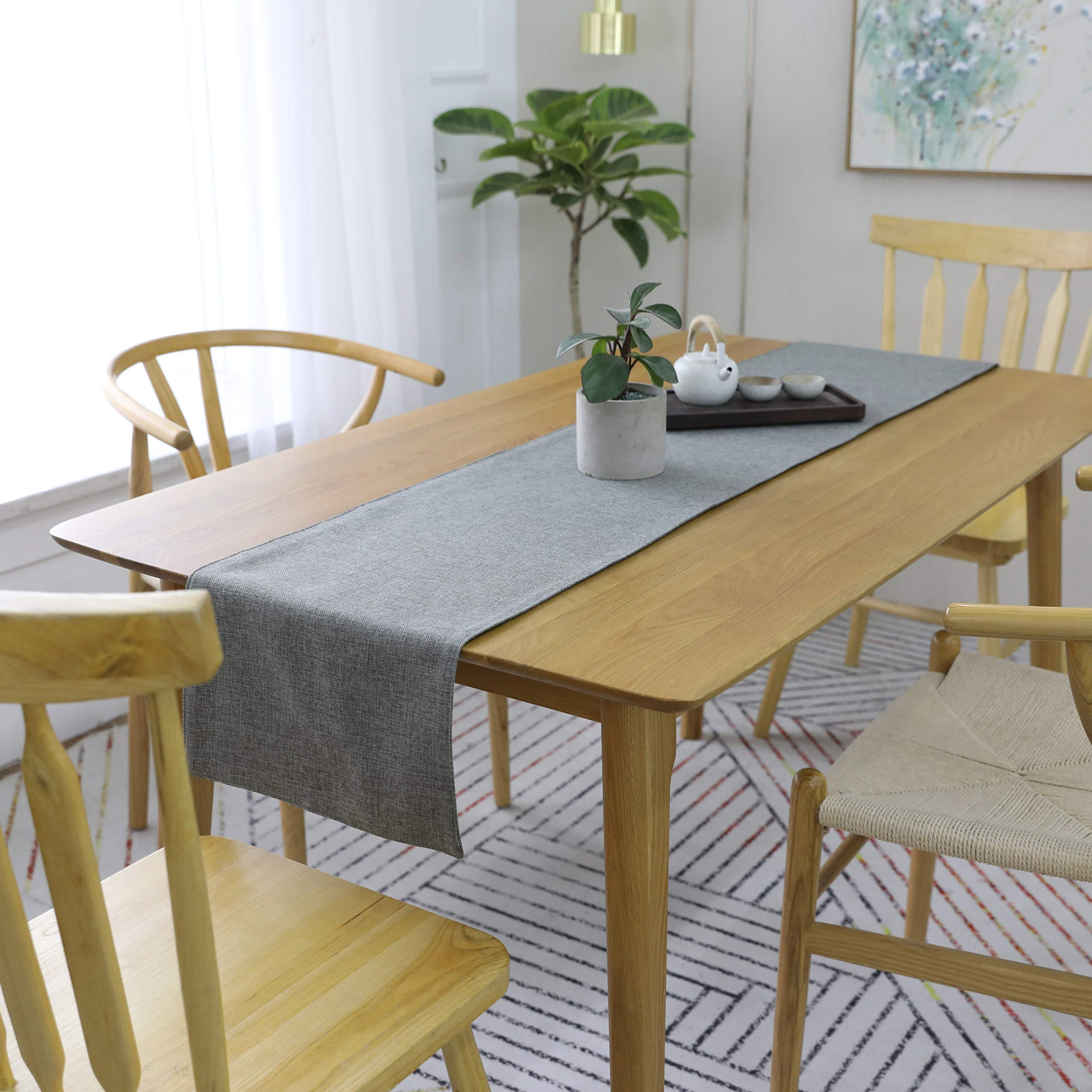 HOME BRILLIANT Gray Dinning Table Runner 12 x 72 Inches Kitchen Coffee Burlap Table Runner for Holiday Party, Dark Grey