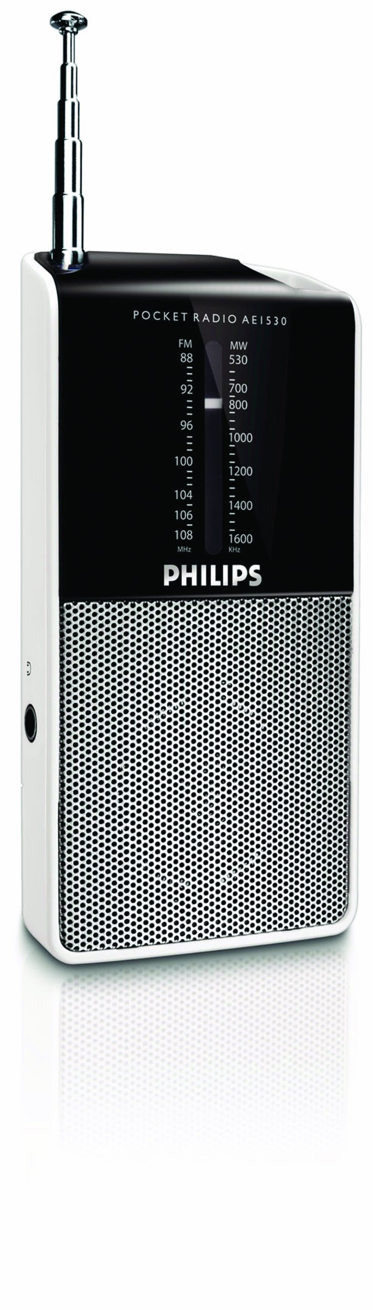 Philips Audio AE1530 Portable Radio with analog UKW/MW-Tuner (Headphone Jack, Battery Operating,Built-In Speaker) - silver/black