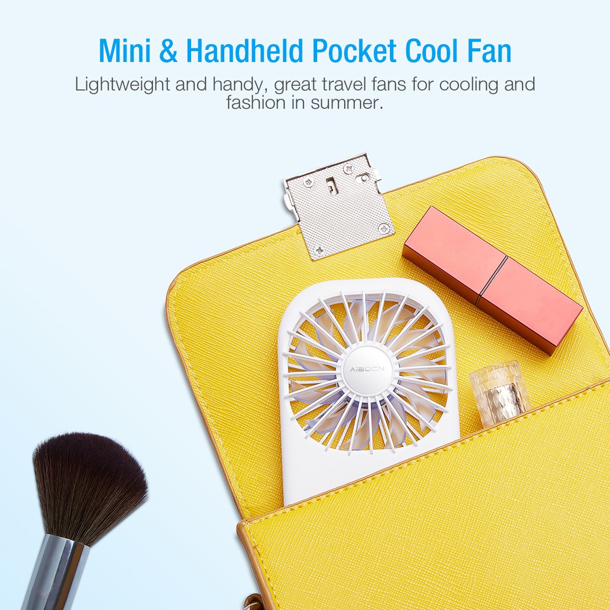Aibocn Mini Handheld Fan with 3500mAh Rechargeable Power Bank Funtion Cooling Fan for Summer Travel, Camping and Outdoor by Aibocn (Image #5)