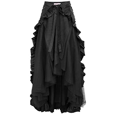 8485de4b5b7 Black Steampunk Victorian Pirate Skirt Ruffles Bustle Skirt Cape BP000206-1  S Black