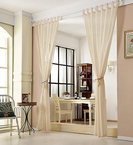 WOLTU Cortinas Visillos Cortinas Translucida de Moderno ara Sala Cuarto  Comedor Salon Cocina Habitación 135 * 245cm Arena(2 Piezas)