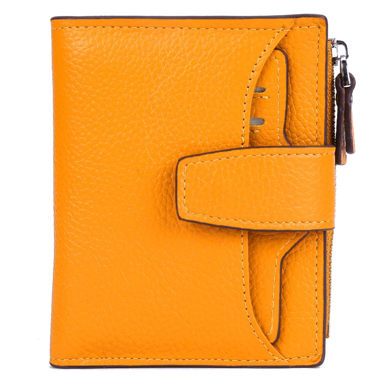 AINIMOER Women's RFID Blocking Leather Small Compact Bi-fold Zipper Pocket Wallet Card Case Purse(Lichee Yellow)
