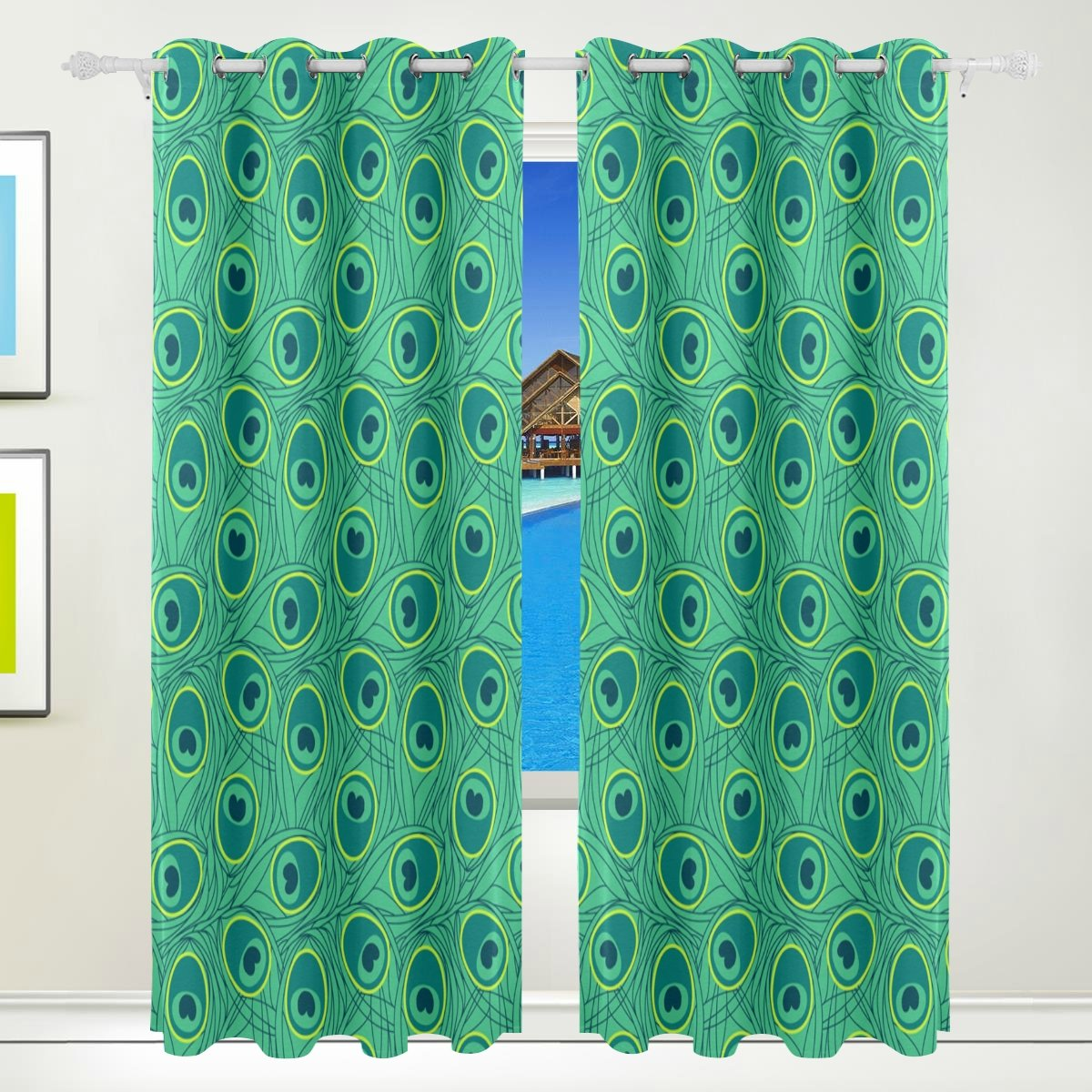 Vantaso Light Shading Window Curtains Green Peacock Feather Pattern Polyester 2 Pannels for Kids Girls Boys Bedroom Living Room 84 inch x 55 inch