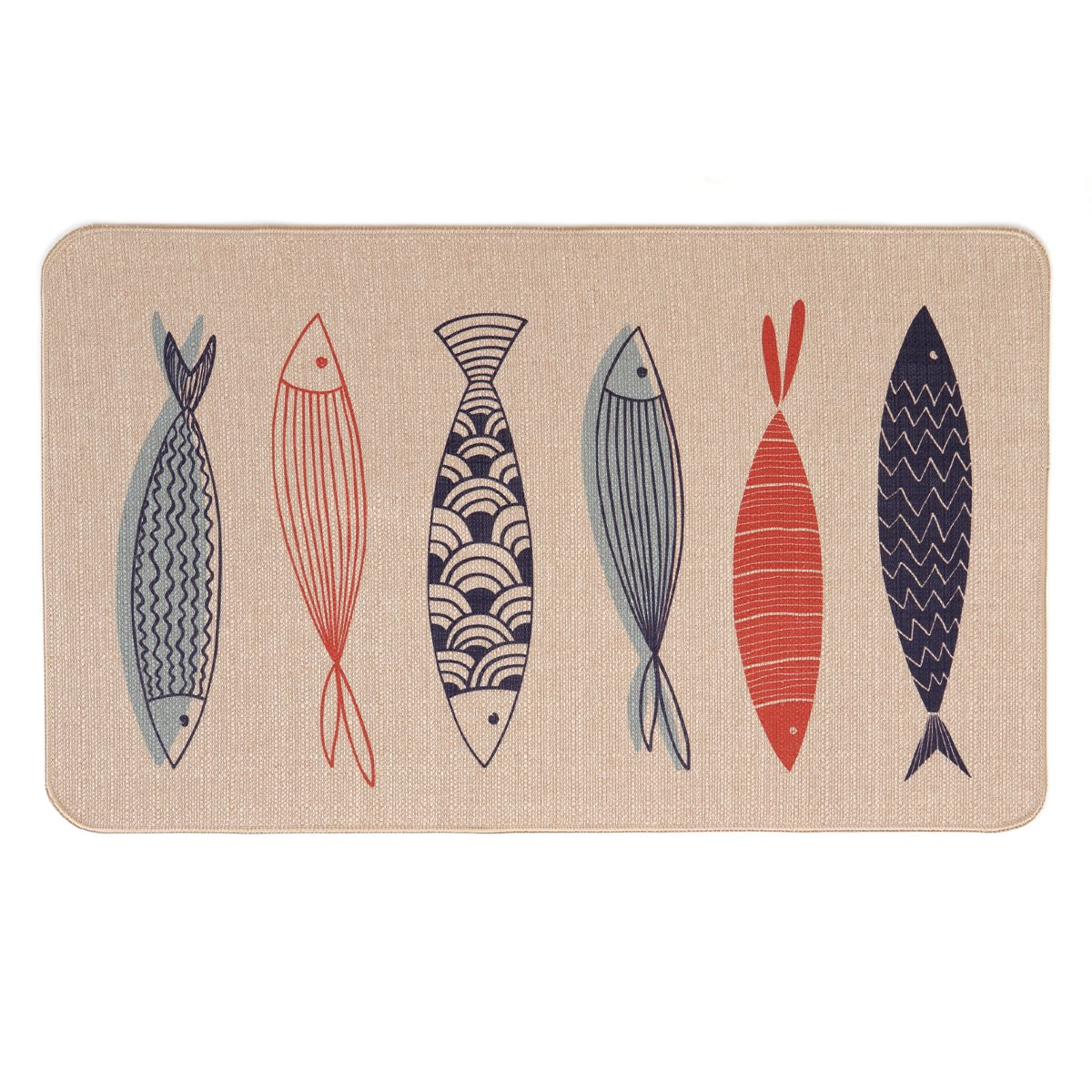 LEEVAN Kitchen Rugs Mat, Microfiber Non-Skid Rubber Backing Washable Doormat Floormat Area Rug Carpet(Six Fishes,17'' X 29'')