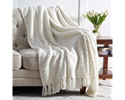Bedsure Cream White Throw Blanket for Couch, Knit Woven Chenille Blanket Versatile for Chair, 50 x 60 Inch - Super Soft Warm