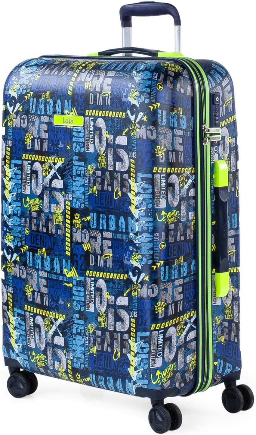 Lois - Maleta de Viaje Trolley 66 cm Mediana ABS Estampado y Texturizado. Rígida, Resistente y Ligera. Mango Telescópico, 2 Asas Retráctiles. 4 Ruedas Dobles 131760, Color Marino